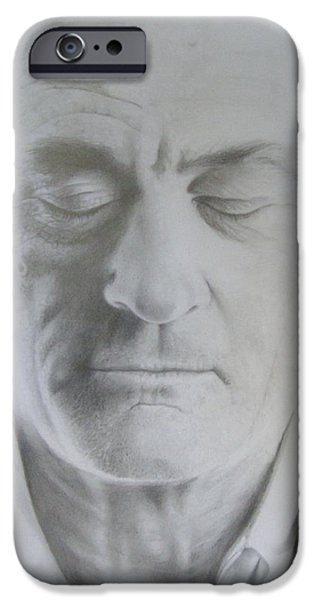 Robert De Niro Drawings iPhone Cases - Robert de Niro Pencil Drawing iPhone Case by Bruce McLachlan