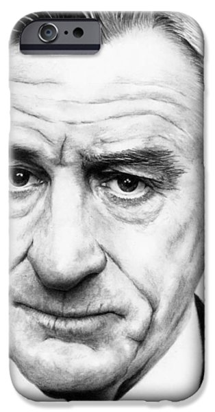 Robert De Niro Drawings iPhone Cases - Robert De Niro iPhone Case by Rick Fortson