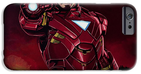 Performers iPhone Cases - Robert Downey Jr. as Iron Man iPhone Case by Paul  Meijering