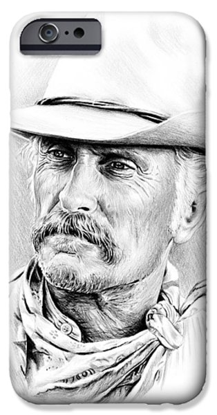 Westerns Drawings iPhone Cases - Robert Duvall iPhone Case by Andrew Read