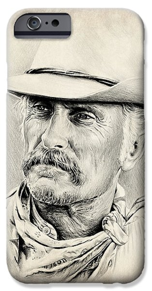 Character Portraits Drawings iPhone Cases - Robert Duvall sepia scratch iPhone Case by Andrew Read