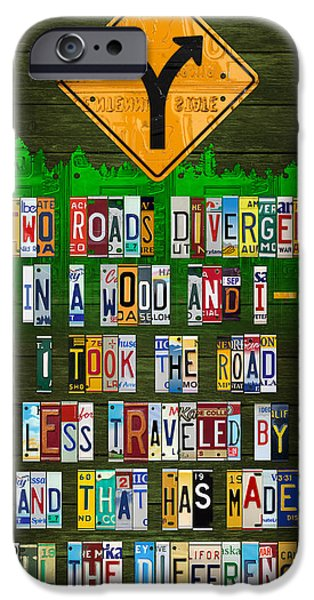 1920 iPhone Cases - Robert Frost The Road Not Taken Poem Recycled License Plate Lettering Art iPhone Case by Design Turnpike