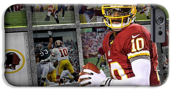 Griffin iPhone Cases - Robert Griffin Rg3 Washington Redskins iPhone Case by Joe Hamilton