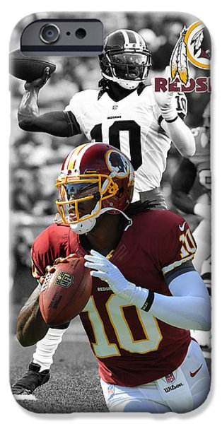 Griffin iPhone Cases - Robert Griffin Rgiii Redskins iPhone Case by Joe Hamilton