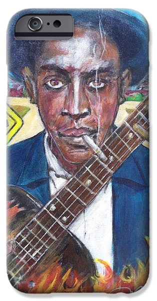 Keith Richards iPhone Cases - Robert Johnson at the Crossroads iPhone Case by Aaron Harvey