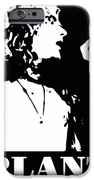 Robert Plant iPhone Cases - Robert Plant Black and White Pop Art iPhone Case by David G Paul
