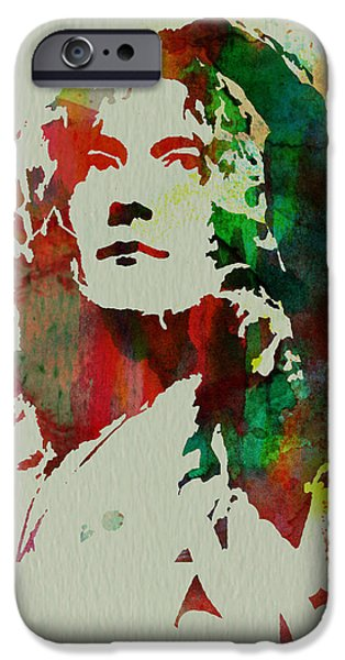 Musicians Paintings iPhone Cases - Robert Plant iPhone Case by Naxart Studio