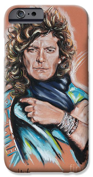 Rocks Drawings iPhone Cases - Robert Plant iPhone Case by Melanie D