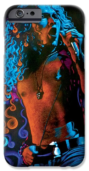 Montage Drawings iPhone Cases - Robert Plant of Led Zeppelin iPhone Case by Robert Korhonen