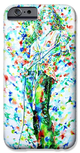 Robert Plant Paintings iPhone Cases - ROBERT PLANT SINGING - watercolor portrait iPhone Case by Fabrizio Cassetta