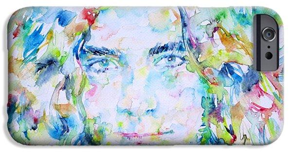 Robert Plant Paintings iPhone Cases - ROBERT PLANT - watercolor portrait iPhone Case by Fabrizio Cassetta