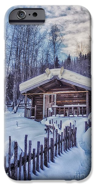 Winter Scenes Photographs iPhone Cases - Robert Service Cabin Winter Idyll iPhone Case by Priska Wettstein
