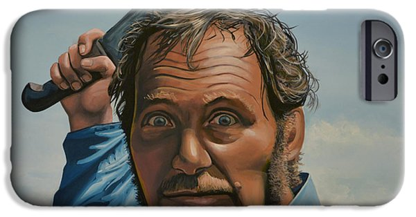 Idol Paintings iPhone Cases - Robert Shaw in Jaws iPhone Case by Paul  Meijering