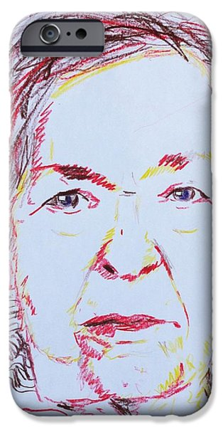 Gray Hair Mixed Media iPhone Cases - Robertas Portrait iPhone Case by PainterArtist FINs husband Maestro