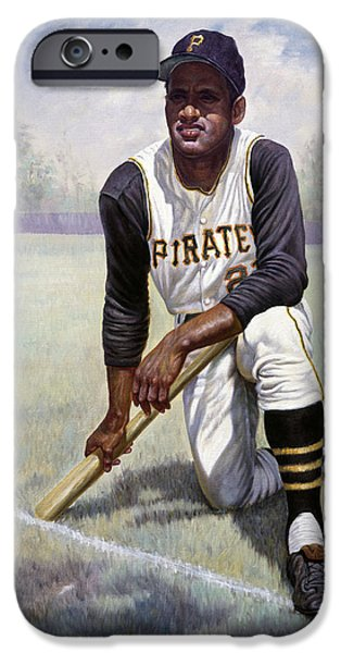 Icon Mixed Media iPhone Cases - Roberto Clemente iPhone Case by Gregory Perillo