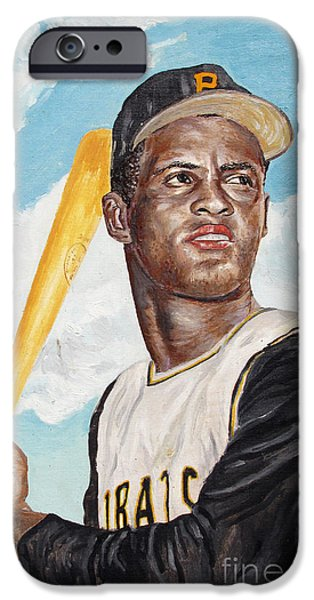 Roberto Clemente iPhone Case by Philip Lee