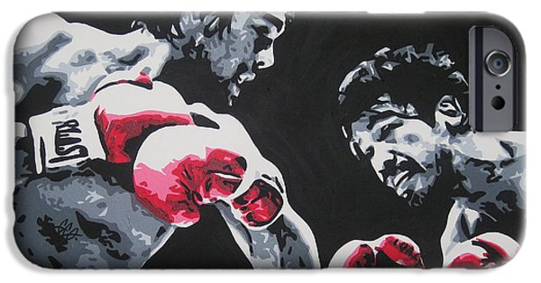 Roberto Paintings iPhone Cases - Roberto Duran 4 iPhone Case by Geo Thomson