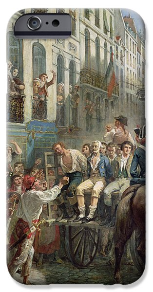 Deputy iPhone Cases - Robespierre 1758-94 And Saint-just 1767-94 Leaving For The Guillotine, 28th July 1794, 1884 Oil iPhone Case by Alfred Mouillard