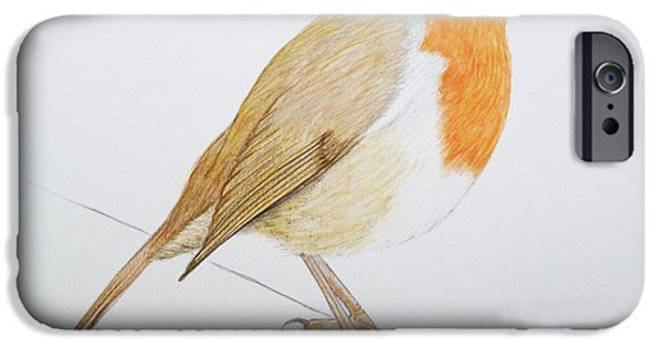 Animal Drawings iPhone Cases - Robin iPhone Case by Ele Grafton