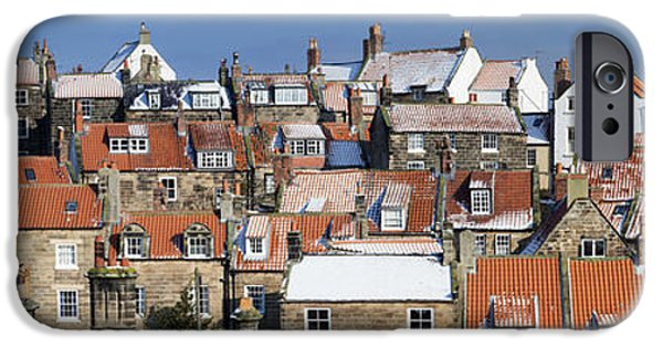 North Sea iPhone Cases - Robin Hoods Bay Rooftops Panorama iPhone Case by John Potter