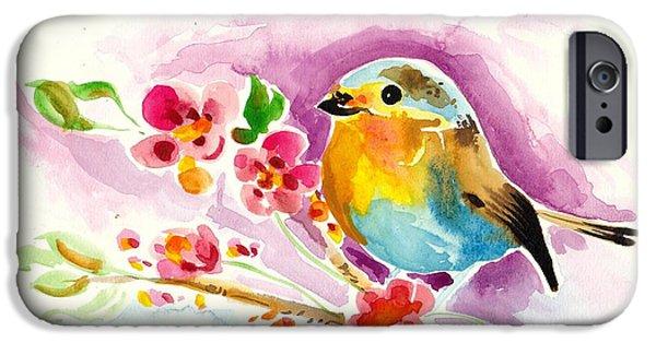 Het Paintings iPhone Cases - Robin in Flowers iPhone Case by Tiberiu Soos