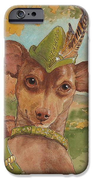 Small Dogs iPhone Cases - Robin of Dogwood Forest iPhone Case by Tracie Thompson