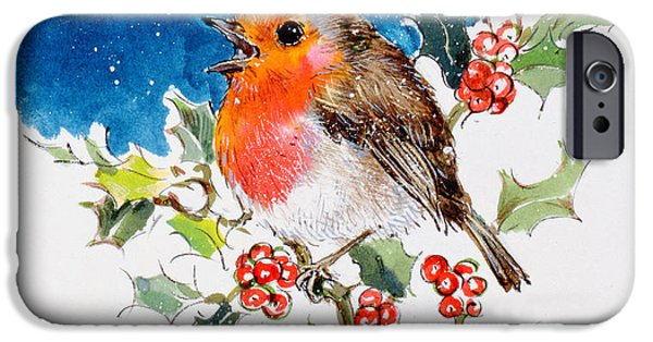 Berry iPhone Cases - Robin Red-breast, 1996 Wc iPhone Case by Diane Matthes