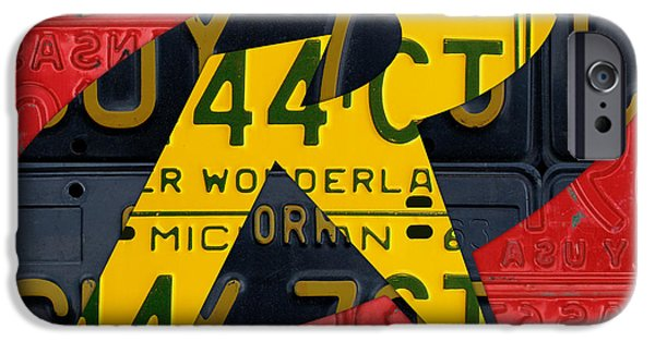 Fictional iPhone Cases - Robin Superhero Symbol Logo Recycled License Plate Art iPhone Case by Design Turnpike
