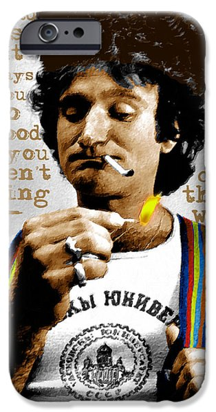 Suspenders iPhone Cases - Robin Williams and Quotes 2 iPhone Case by Tony Rubino