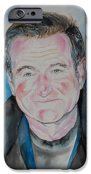 Support Drawings iPhone Cases - Robin Williams iPhone Case by Isabel Salvador