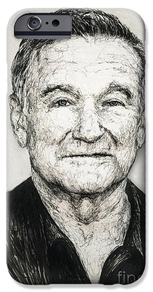 Morning Drawings iPhone Cases - Robin Williams iPhone Case by Michael  Volpicelli