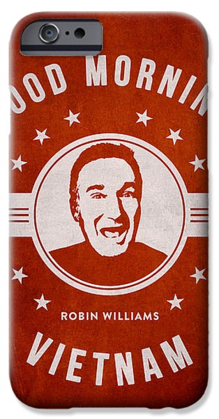 Acting iPhone Cases - Robin Williams - red iPhone Case by Aged Pixel