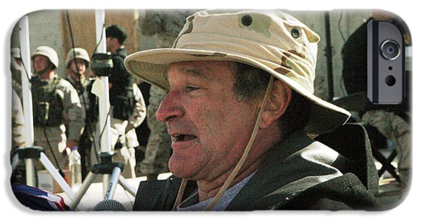 Iraq iPhone Cases - Robin WIlliams USO Iraq 2004 iPhone Case by Annette Redman