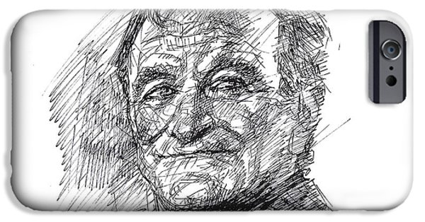 Stars Drawings iPhone Cases - Robin Williams iPhone Case by Ylli Haruni