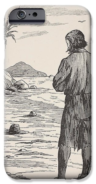 Sea Birds Drawings iPhone Cases - Robinson Crusoe on his island iPhone Case by English School