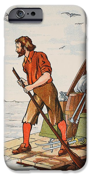 Raft iPhone Cases - Robinson Crusoe on his raft iPhone Case by English School