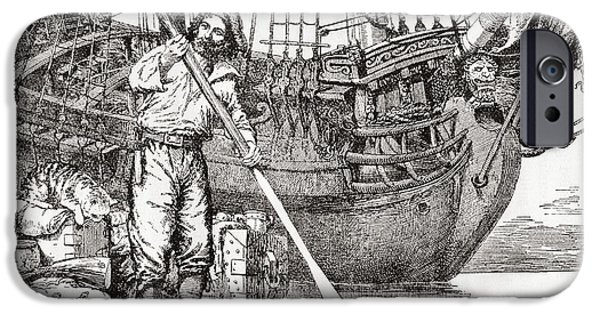 Raft iPhone Cases - Robinson Crusoe Rowing To Safety On A Raft After Being Shipwrecked.  From Adventures Of Robinson iPhone Case by Bridgeman Images