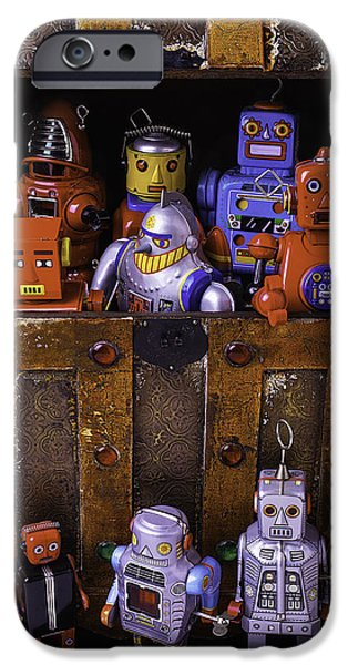 Treasure Box iPhone Cases - Robots In Treasure Box iPhone Case by Garry Gay