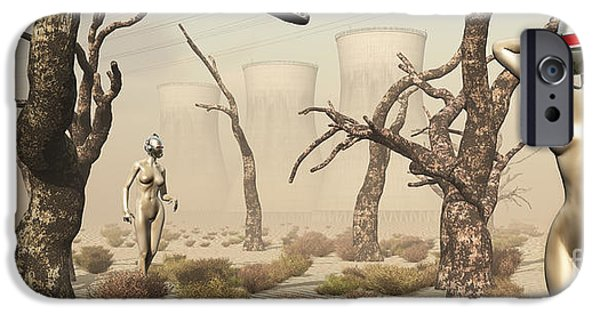 Cyberspace Digital Art iPhone Cases - Robots Walking About A Landscape iPhone Case by Mark Stevenson