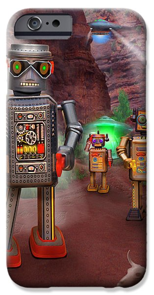 Spacecraft iPhone Cases - Robots With Attitudes 2 iPhone Case by Mike McGlothlen