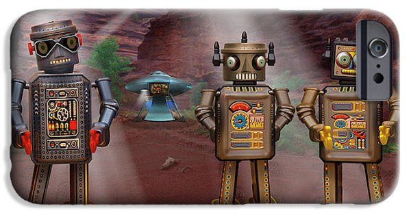 Spacecraft iPhone Cases - Robots With Attitudes  iPhone Case by Mike McGlothlen