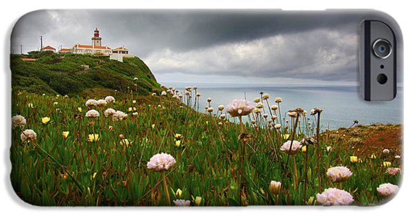 Red Rock iPhone Cases - Roca Lighthouse iPhone Case by Carlos Caetano