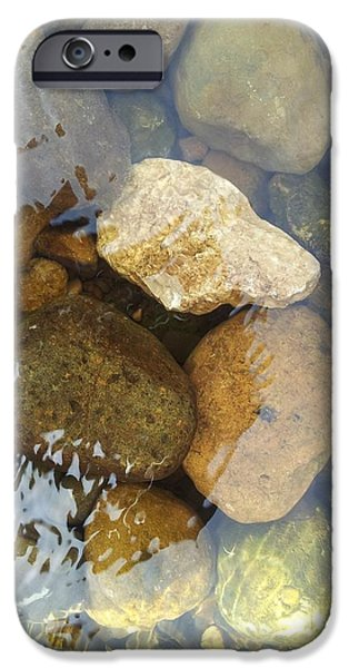 Waterscape Paintings iPhone Cases - Rock and Pebbles iPhone Case by David Stribbling