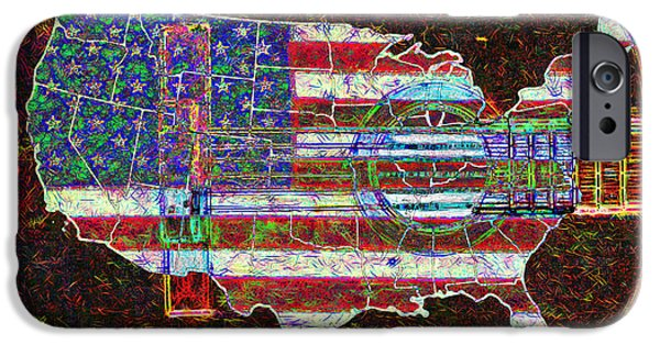 Old Glory iPhone Cases - Rock and Roll America 20130123 Red iPhone Case by Wingsdomain Art and Photography