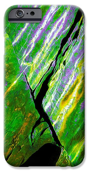 Modern Abstract iPhone Cases - Rock Art 16 in Green iPhone Case by Bill Caldwell -        ABeautifulSky Photography