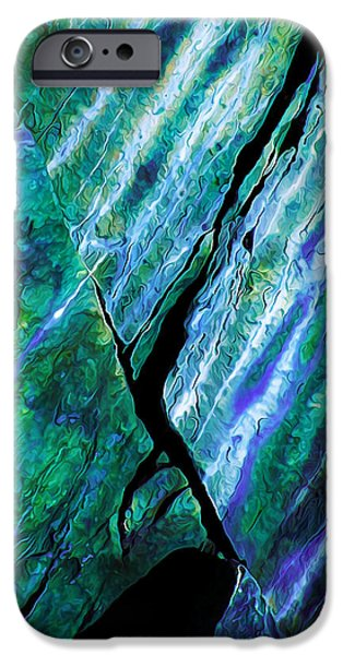 Modern Abstract iPhone Cases - Rock Art 16 in Teal n Violet iPhone Case by Bill Caldwell -        ABeautifulSky Photography