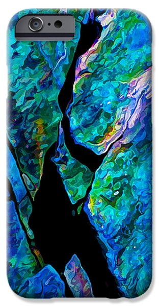 Modern Abstract iPhone Cases - Rock Art 17 in Aqua iPhone Case by Bill Caldwell -        ABeautifulSky Photography