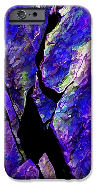 Modern Abstract iPhone Cases - Rock Art 17 in Blue iPhone Case by Bill Caldwell -        ABeautifulSky Photography