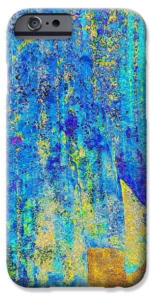 Abstract Digital Digital iPhone Cases - Rock Art Blue and Gold iPhone Case by Stephanie Grant