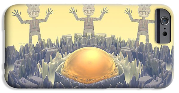 Fractal Other Worlds iPhone Cases - Rock Characters iPhone Case by Phil Perkins